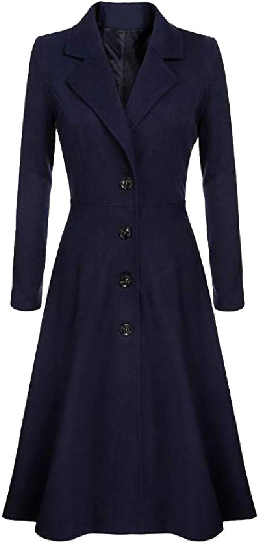 Winme Womens LongSleeve Duster Coat Fit and Flare ALine Dress