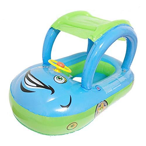Flotador para Bebé con Asiento,Respaldo,Techo del Sol, Bebé Flotador Anillo De Natación Inflable con Sombrilla Ajustable Barco De Natación (Green)
