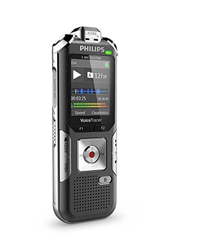 Philips DVT6010 Digitales Diktiergerät mit 3 Mic Auto Zoom+ (Bewegungssensor, Metallgehäuse, Micro-USB-Anschluss, 8 GB interner Speicher, Li-Polymer-Akku, MP3, Plug and Play, Win/Mac/Linux) silber
