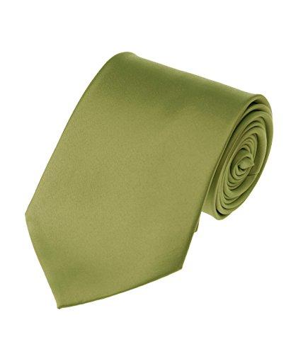 NYFASHION101 Cravate extra longue XL à couleur unie pour homme, Olive