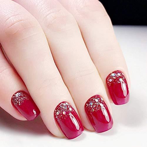 24 Stiletto falsas uñas postizas rojo purpurina uñas francesas acrílico largo redondo natural uñas UK