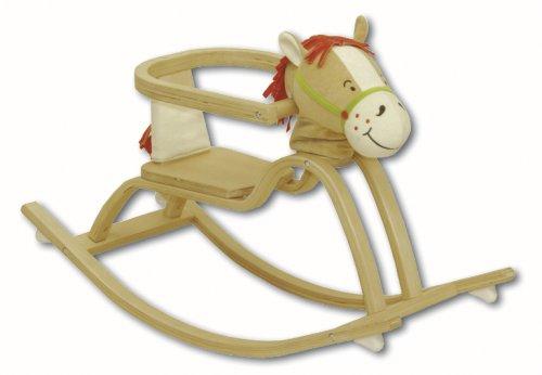 roba Schaukelpferd 'Pferdchen', Schaukeltier aus Holz mit gepolstertem Pferdekopf & Sound, Schaukelsitz m, Schutzring, Schaukelspielzeug ab 12 Monate