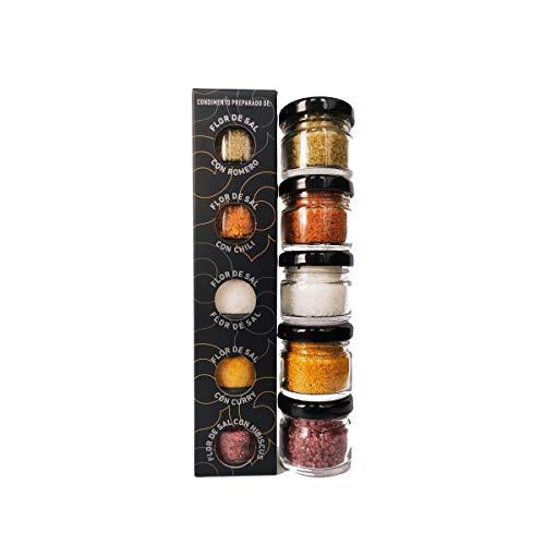 GLOSA MARINA - Flor de Sal Gourmet Salze, Meersalz aus Mallorca als ideales Gewürze Geschenkset Salzset (5x20g)
