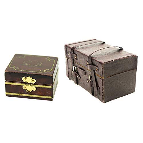 Colcolo 2Pcs 1:12 Dollhouse Miniatura Joyero Caja Caja de Almacenamiento de Cajones