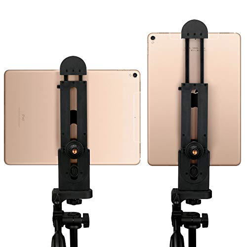 Tablet Tripod Mount Adjustable Clamp Tablet Holder Adapter Compatible with iPad Air Pro iPad Mini Microsoft Surface Nexus and Most Tablets(5inch-12inch Screen) for Tripod Monopod Selfie Stick