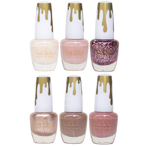 Nicole Miller Total Nudes Nail Polish Collection, Set of 6 Unique Glossy and Shimmery Nail Polish Colors for Women and Girls, Quick Dry Nail Polish