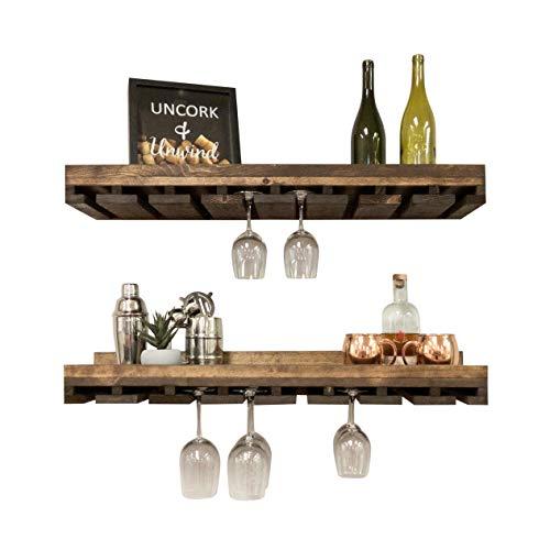 Rustic Wooden Wall Mounted Handmade Tiered Wine Glass Racks (Dark Walnut, 36 Inch)