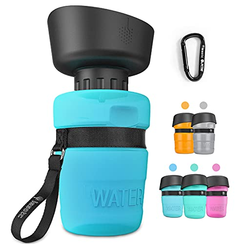 lesotc Pet Water Bottle for Dogs, Dog Water Bottle Foldable, Dog Travel Water Bottle, Dog Water Dispenser, Lightweight & Convenient for Travel BPA Free (18oz Blue)