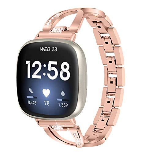 XIALEY Correa De Metal Compatible con Fitbit Versa 3 / Sense Fitness Tracker, Correa De Repuesto De Acero Inoxidable con Diamantes De Imitación Compatible con Versa 3 / Sense,Rose Gold