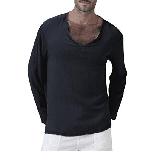 MRULIC Herren Oversize Langarm Basic Sweatshirt Langarm Shirt Herbstpullover(Schwarz,EU-52/CN-3XL)