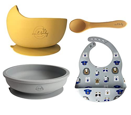 AMTBABY Vajilla silicona bebé con Bowl, Plato con ventosa, Cuchara y Babero. Aprendizaje BLW | Set de alimentación Animales