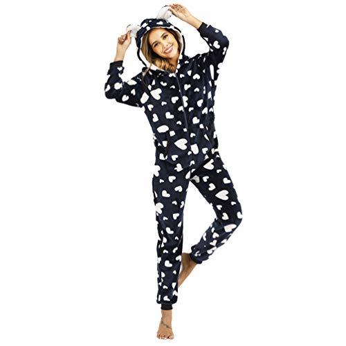 YuanDiann Mujer Pijamas Enteros Onesie, Linda Impresión Corazón del Amor Franela Suave Cálido Dormir Mono con Capucha Cómodo Una Pieza Pijama Completas Azul Real L