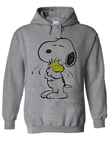 Snoopy Peanuts Cartoon Happy Cute Sports Grey Men Women Unisex Hooded Sweatshirt Hoodie-M