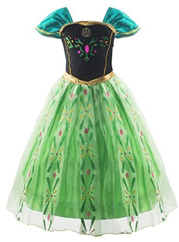 KABETY Mädchen Prinzessin Anna Kleid Schnee königin ELSA Kostüm Party Kleid,5 Jahre (Hersteller Größe:120) ,Grün