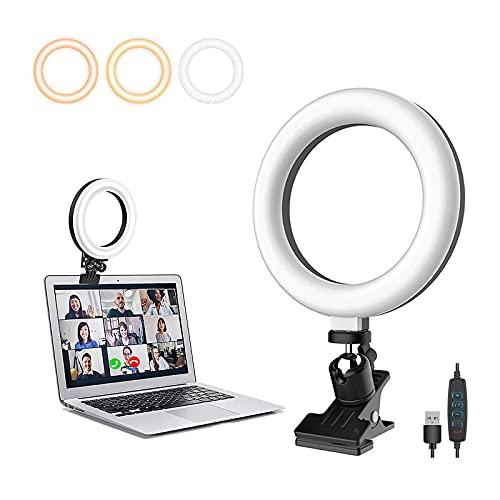 ChaoriMall 6 Pulgadas LED Anillo Luz con Clip, Videoconferencia Iuz con 3 Modos 10 Brillos para Portátil & Escritorio Computadora, Selfies Luz para Video Transmisión Video llamada Reunión Maquillaje