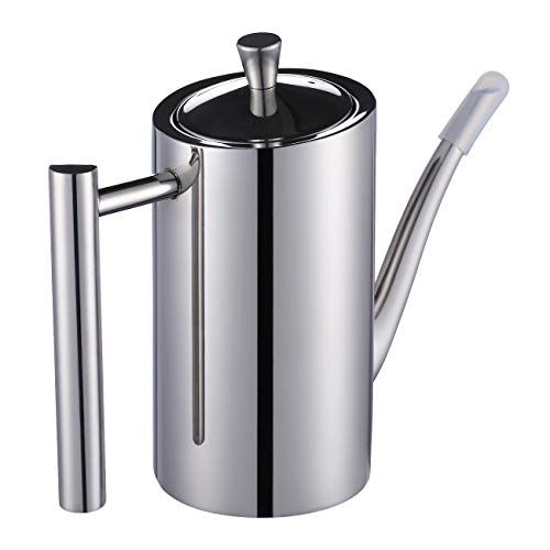 Eglaf Olive Oil Dispenser Bottle - 500ml / 17 Oz Double Wall 304 Stainless Steel Soy Sauce & Vinegar Cruet - Drip-Free Pouring Spout with Dust Cap - Olive Oil Can for Kitchen Cooking (Square Handle)