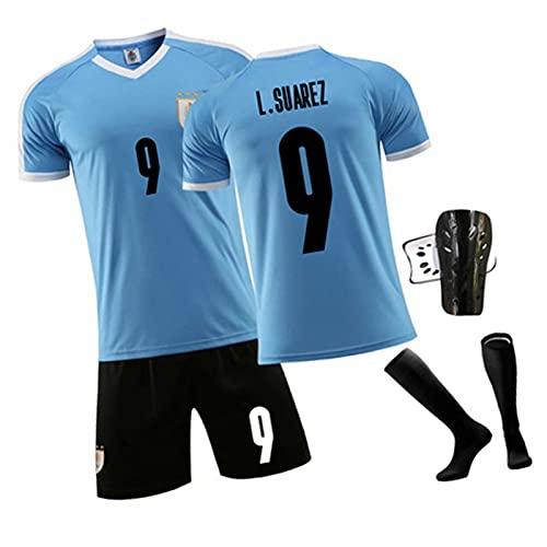 DFGVB Suarez 9# Jersey de fútbol, Uruguay Home and Weeight Soccer Jersey, Camisa para niños Adultos + Juego Corto blue2-L