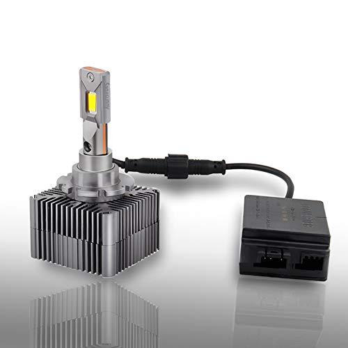 SAGESUNNY D3S D3R Bombilla LED Kit de conversión 5500k blanco puro, led de canbus anti error de 360 ° D3s D8s Reemplazo para xenón, plug and play - 70W 8000Lm genuino - 24 meses de garantía