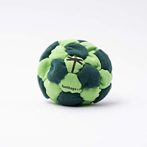 Dragonfly Footbags Dark Green and Light Green Eclipse 32 Panel Metal Filled (Hacky Sack)