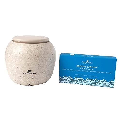 Plant Therapy TerraFuse Deluxe Cream Diffuser and Breathe Easy Essential Oil Set 100% Pure, Undiluted, Therapeutic Grade Essential Oils