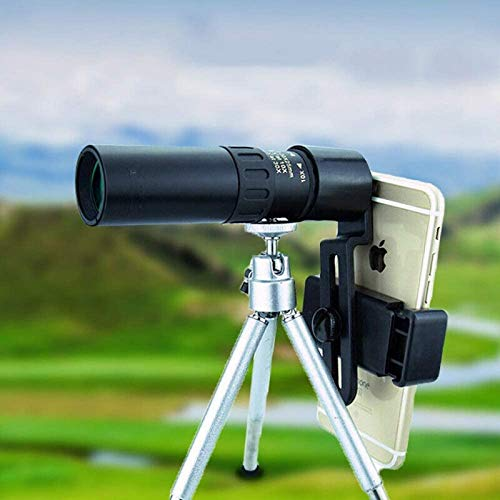 JJDSN Telescopio monocular para teléfono Inteligente 10-300 * 40 mm Lente de Zoom súper telescopio Lente de cámara de teléfono móvil monocular con Adaptador de teléfono Inteligente Traje de trípod