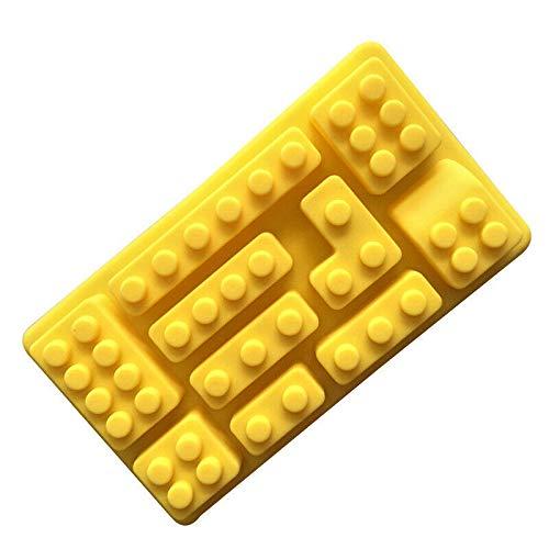 5 piezas Bloque de construcción, bloque Antiadherente Bandeja para cubitos de hielo Molde de silicona Fabricación de chocolate derretido Fondant Jelly Dome Mousse Bloque de construcción