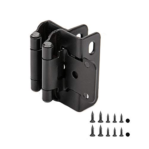 Home Master Hardware 1/2 inch Self Closing Partial Wrap Cabinet Hinges 25 Pair (50 Pcs) for Variable Kitchen Bathroom Cabinet Doors (Matte Black)