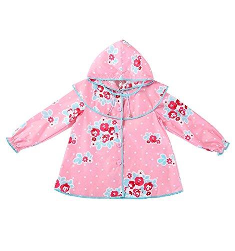 coréen Baby-girls Robe de princesse pluie Mode enfants pluie Rose S