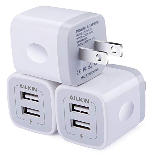 Wall Charger, 3Pack 5V/2.1AMP AILKIN 2-Port USB Wall Charger Home Travel Plug Power AC Adapter Fast Charging Block Cube for iPhone 12 SE 11Pro Max XS XR 8 7 Plus, Samsung Galaxy, Google Pixel, LG Box