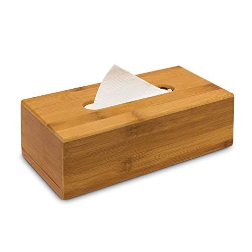 Relaxdays Kosmetiktücherbox aus Bambus HxBxT: 7,5 x 24 x 12 cm Taschentuchspender für handelsübliche Taschentücher aus Holz als Papiertuchspender mit herausnehmbarem Boden als Kosmetik-Box, natur