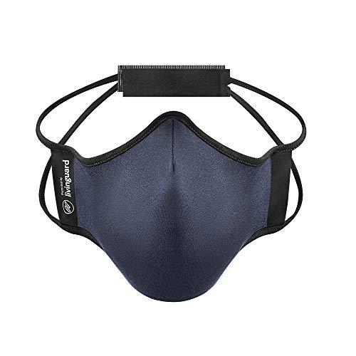 Livinguard - Fitness MASK| Fortschrittliche Lyocell-Mikrofaser Gesichtsmaske | Sportliche Atmungsaktivität | Verstellbar, Waschbar, Wiederverwendbar (L, Steel Blue)
