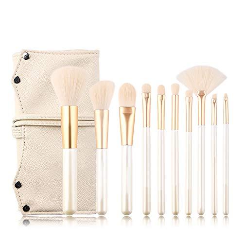 10 Pcs Sets/kit Portable Perle Blanche Pinceaux de Maquillage Professionnel, Brosse Cosmétique de Base Sourcil Eyeliner Concealer