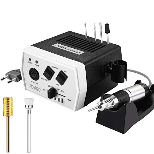 Nagelfräser JSDA JD400 Set Elektrisch Professioneller Studio Maniküre Pediküre Hornhautentferner inkl 4 Bits & 1x Premium Hartmetall Bit