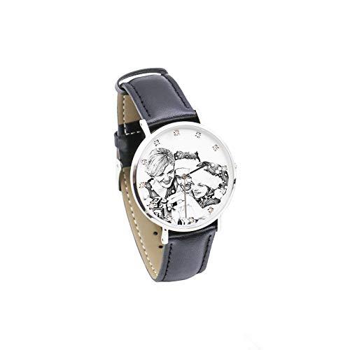 Reloj Personalizado Reloj con Foto Reloj con Imagen grabada Reloj con cinturón para Hombre Reloj Unisex Navidad para papá(Bosquejo de Las Mujeres Mujeres-24cm)