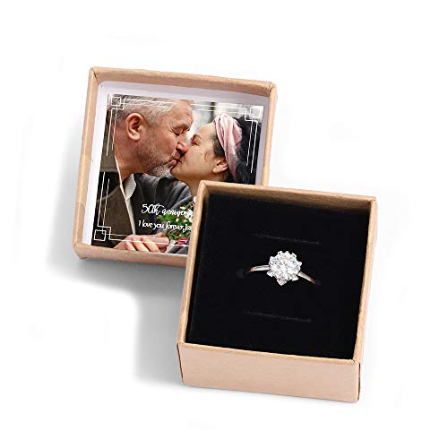 kaululu Personalised Jewellery Box for Womens with Family Frendship Love Photo Name Date Engraving for Mother Grandma - Ring/Necklace/Bracelet Boxes (Ring-Photo&Text)