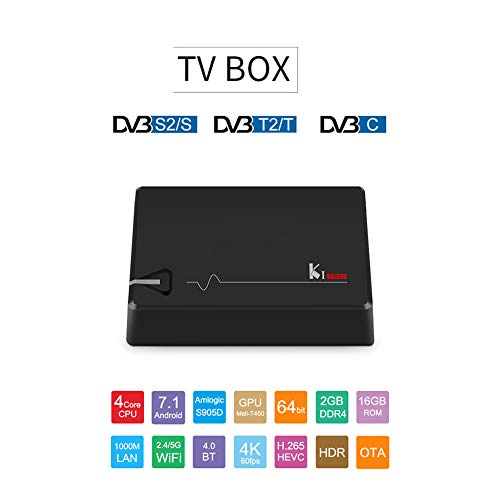 KI Pro Android 7,1 2G RAM 16G ROM Amlogic S905D DDR4 HD 4K 2.4 G/5G Reproductor de Red WiFi con TV Box Stalker y DVB