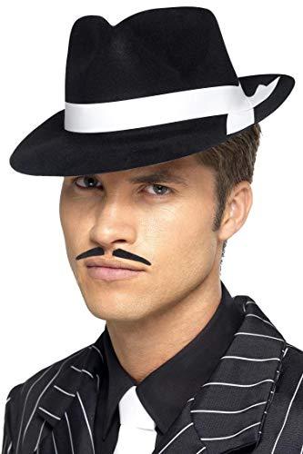 Smiffys Herren Al Capone Hut mit weißem Band, One Size, Schwarz, 92415