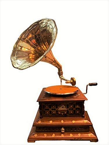 Global Art World Vintage His Master Voice Wooden Art Décor Turntable Antique Machine Hmv Musical Box Gramophone Draw Phonograph A1BG 027