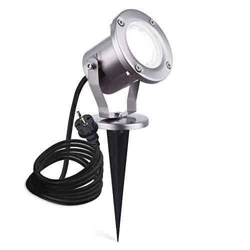 LED Erdspießleuchte Außenstrahler mit Erdspieß Gartenstrahler Gartenspot Edelstahl mit 3m Kabel anschlussfertig ESP4 IP65 GU10 230V Kaltweiß