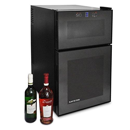 Klarstein MKS-3 - Weinkühlschrank, 2 Zonen, 8 bis 18°C, 24 Flaschen, 68 Liter, freistehend, Getränkekühlschrank, Touchpad-Steuerung, LCD-Display, 2-türig, schwarz
