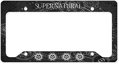 Fhdang Decor Supernatural Black Aluminum License Plate Frame, License Tag Holder Auto Tag Car Accessories 6' X 12'