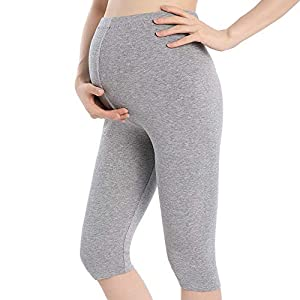 QingWan Short Leggings for Pregnancy Women Workout Capri Maternity Shorts Over The Belly