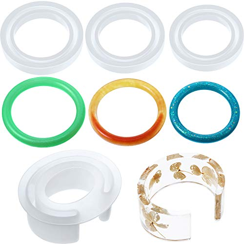 4 Pieces Resin Bracelet Mould Larger C Font Bangle Mold Silicone Bangle Epoxy Ring Moulds for Casting Resin Jewelry Round Crystal DIY Making Crafts