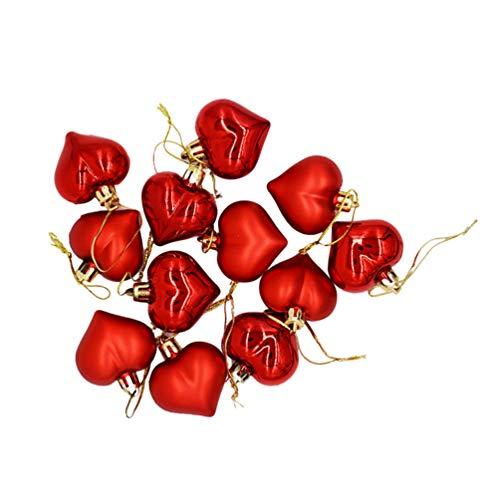 GARNECK 12 Stück Herz Anhänger Dekoration Weihnachtsbaumkugeln Kreativ aus Kunststoff hängend (rot) 4,5 centimetri rot