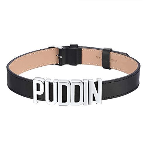 U7 Damen Choker 19mm breit Schwarz Leder Choker Kette Punk Stil Halsband mit englischen Wörtern Puddin Frauen Mädchen Modeschmuck Geschenk für Geburtstag Jahrestag