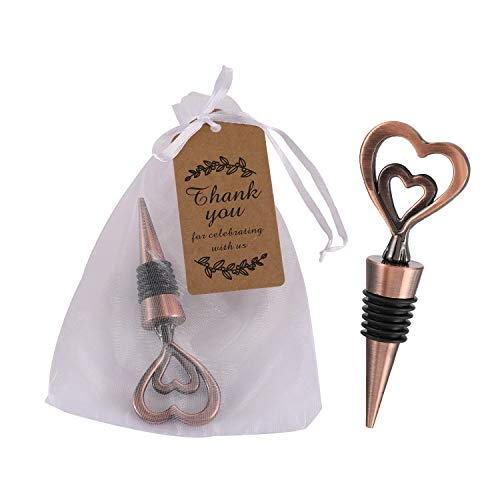 24PCS Double Heart Shape and Beverage Wine Bottle Stoppers Love Design Wine Caps Reusable Plug Keep Wine Fresh for Wedding Birthday Baby Shower Gifts for Guests (Bronze Heart, 24)