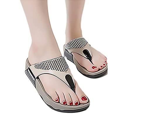 Damskie letnie klapki, buty na platformie? Sandały z podparciem łuku pięty Komfortowe odkryte palce Antypoślizgowe klapki plażowe, czarne, 37