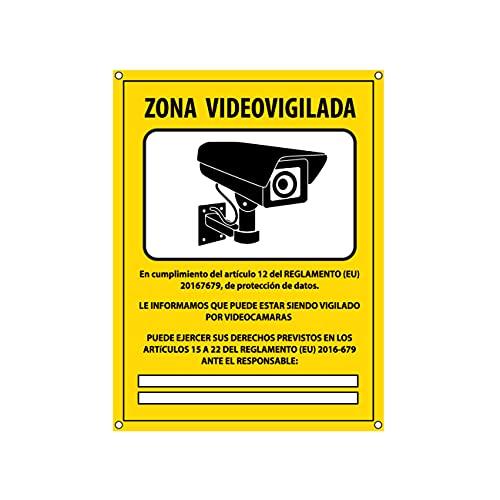 Cartel videovigilancia - Placa zona videovigilada – Carteles cámara vigilancia 20x15 cm - Amarillo Interior-Exterior - PVC (1 Pieza Cartel Videovigilancia)