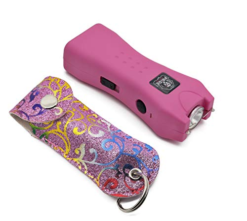 Cyclone Stun Gun Pepper Spray Combo for Self Defense - Extremely Powerful Stun Gun with Flashlight 1/2 Ounce Police Grade Max Strength 10% Pepper Stream w/Pouch (Pink Flower)