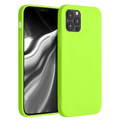 kwmobile Cover Compatibile con Apple iPhone 12 Max / 12 PRO - Custodia in Silicone TPU - Backcover Protezione Posteriore- Giallo Fluorescente